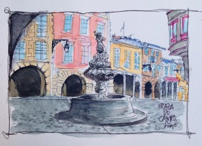 Fountain doodlewash watercolor and urban sketch by Virginia González