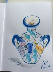 Doodlewash by Naoko Ebihara - watercolor sketch and painting of ceramic pot vase