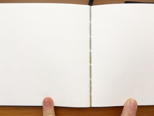 Pentalic Aqua Journal 5 x 8 inch open showing gaps between the signatures
