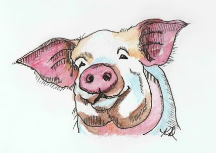 Little Pig doodlewash and watercolor sketch by KD Huff