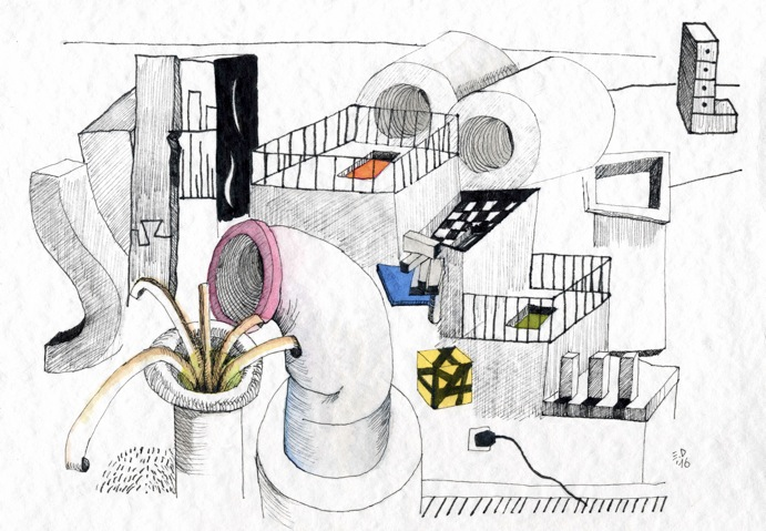 Guest Doodlewash by Edoardo Dispenza - watercolor entitled plug and play