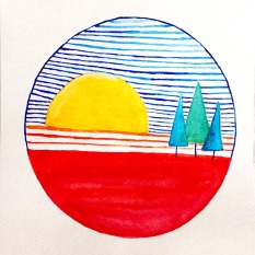 Doodlewash - watercolor scene with sun and trees by Micah Bremner