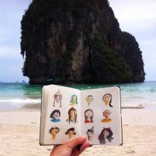 Doodlewash and watercolor faces in Thailandesos by Virginia González
