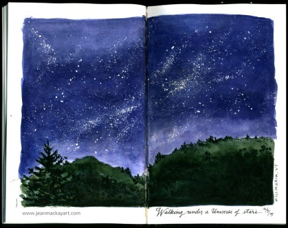 Doodlewashes by Jean Mackay - watercolor sketch and painting of deep blue night sky with stars in sketchbook