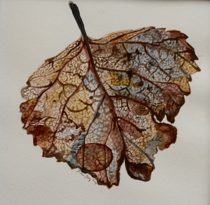 Doodlewash of Brown Leaf in Watercolor by Jessica Hay