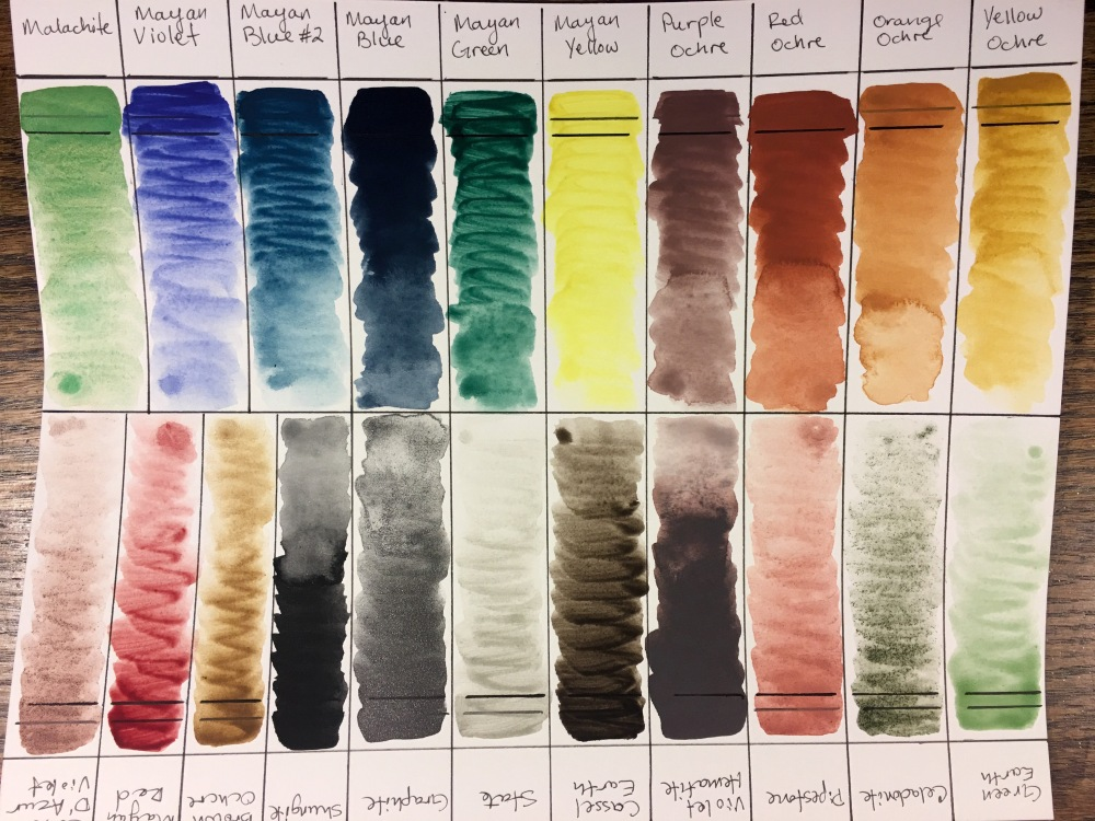 Fresh watercolor swatch of Greenleaf & Blueberry watercolors