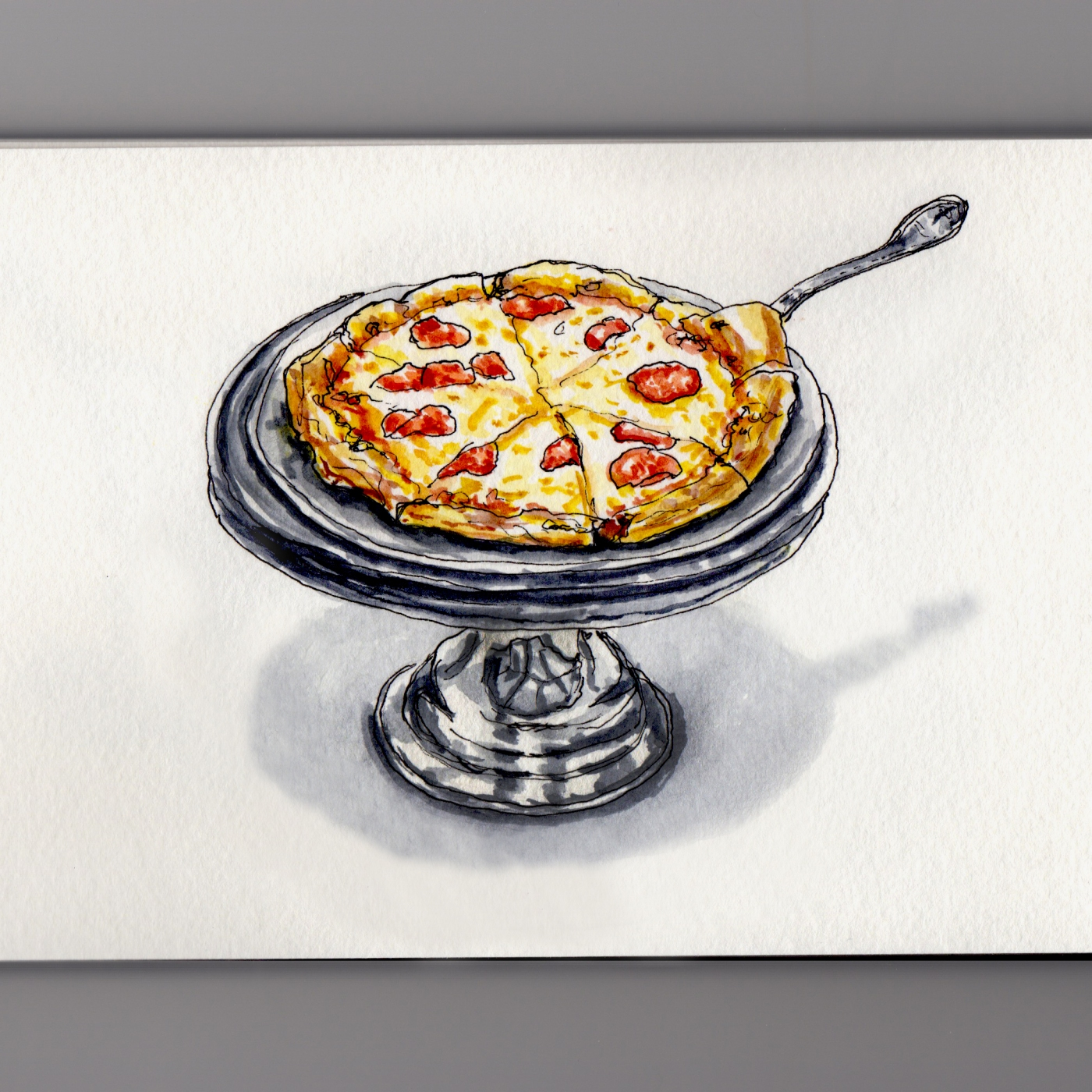 Pizza At Planet Comicon Doodlewash and watercolor urban sketch pepperoni and cheese pizza
