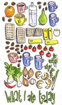 Doodlewash and watercolor sketch by Koosje Koene Sketchbook Skool What I Ate Today various foods and beverages