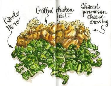 Doodlewash and watercolor sketch by Koosje Koene Sketchbook Skool of Grilled Chicken Filet with shaved parmesan cheese dressing salad