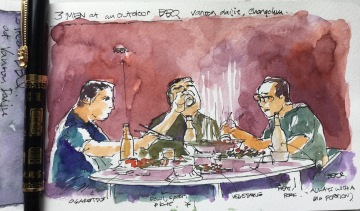 Doodlewash and watercolor sketch by Benny Kharismana of men seated and eating barbeque urban sketcher