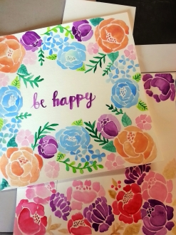 Doodlewash by Maria Christina Dina - watercolor of Be Happy card