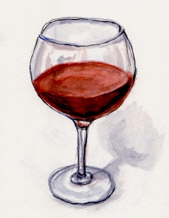 Doodlewash and Urban Sketch of glass of red wine