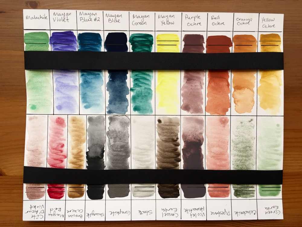 Lightfast test watercolor swatch of Greenleaf & Blueberry watercolors