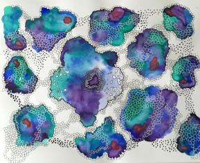 Purple Abstract in Holbein Watercolor - Doodlewash by Jen Fabish