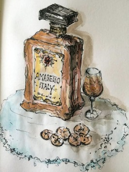 Doodlewash and watercolor sketch by Carolina Russo of bottle of Amaretto from Italy with glass