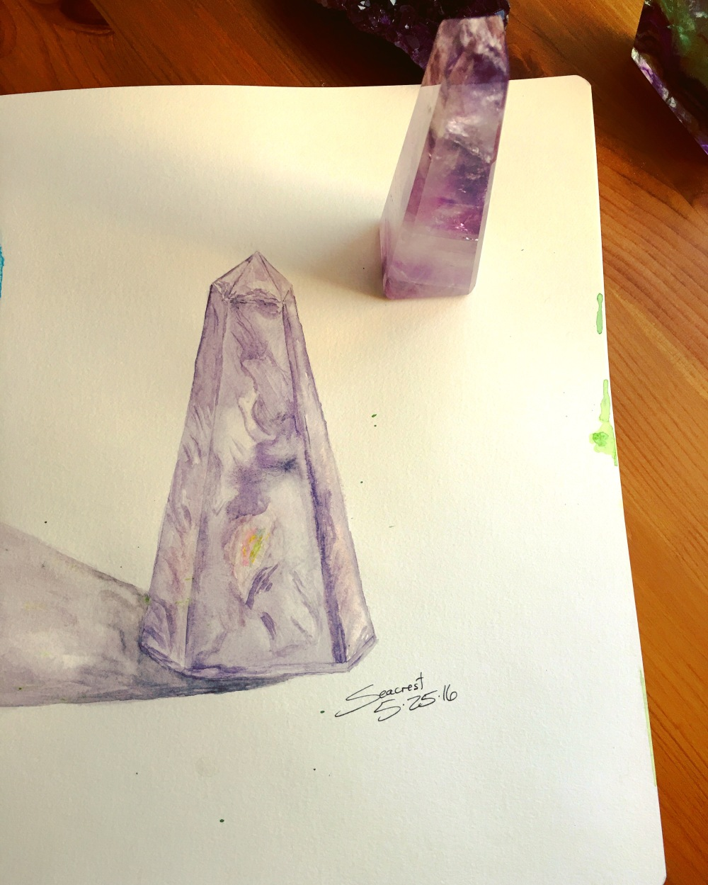 Amethyst Crystal watercolor painting using Daniel Smith Primatek and Luminescent paints, Amethyst Genuine and Cactus Flower Duochrome
