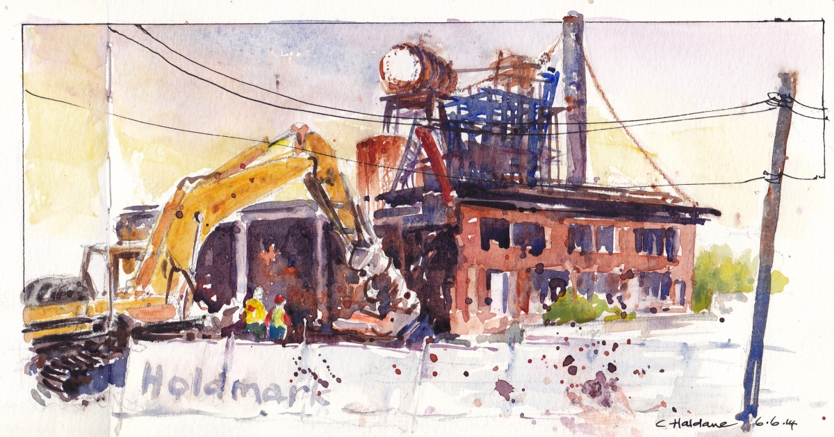 Doodlewash and watercolor urban sketch by Chris Haldane of Excavator in Australia