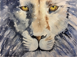 Doodlewash and watercolor painting by Sibella of Aslan the Lion