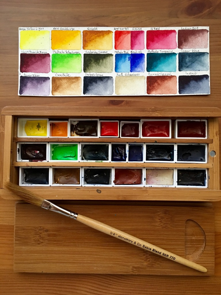 Daniel Smith Extra Fine watercolors half and full pans in a bamboo palette with paint swatches and a Rosemary & Co sword brush