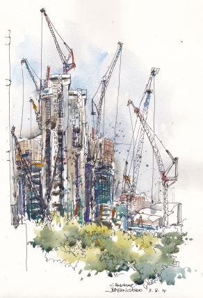 Doodlewash and watercolor urban sketch by Chris Haldane of Barangaroo Dance of the Cranes