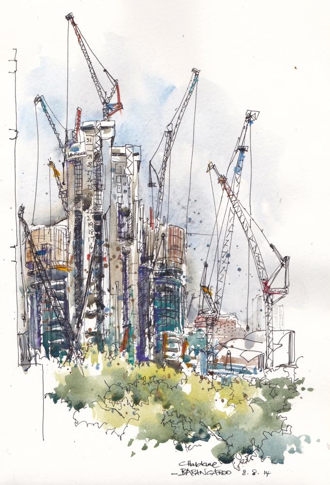 Doodlewash and watercolor urban sketch by Chris Haldane of Barangaroo Dance of the Cranes