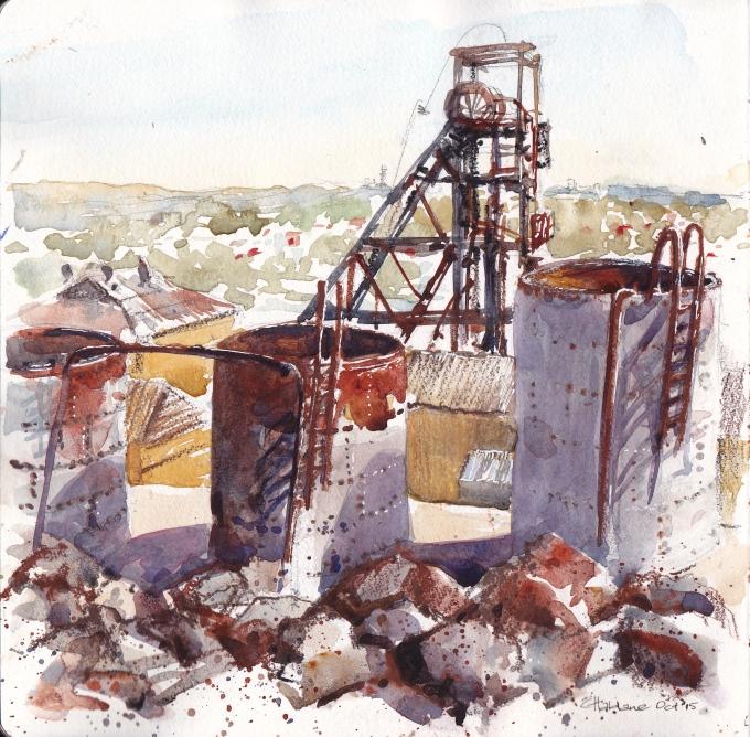 Doodlewash and watercolor urban sketch by Chris Haldane of Broken Hill Mines