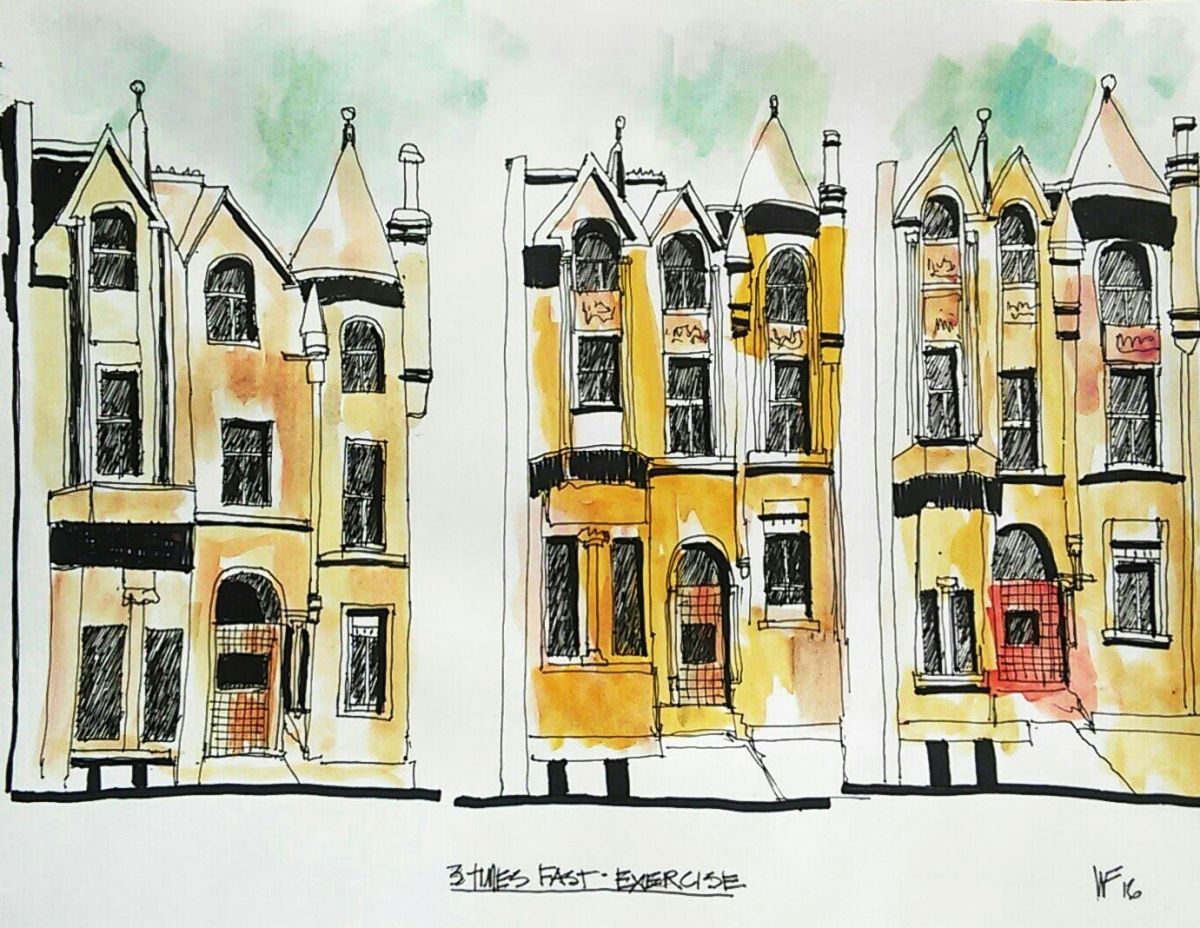 Bil Fagan - Watercolor and urban sketch using Marc Taro Holmes Three Times Fast exercise - Doodlewash