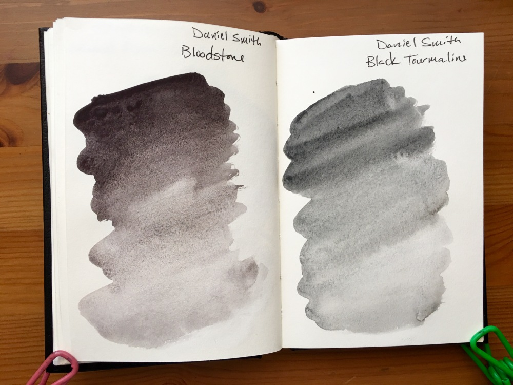 Daniel Smith PrimaTek watercolors swatches in a stillmand and birn gamma series journal Bloodstone and Black Tourmaline