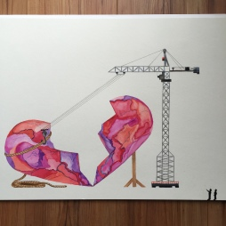 Broken heart under construction watercolor - Doodlewash by Jen Fabish