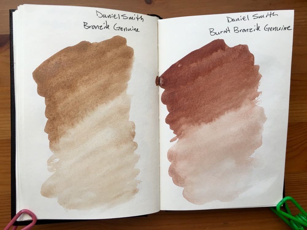 Daniel Smith PrimaTek watercolors swatches in a stillmand and birn gamma series journal Bronzite Genuine and Burnt Bronzite Genuine