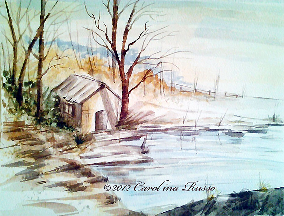 Doodlewash and watercolor sketch by Carolina Russo of small house on the water