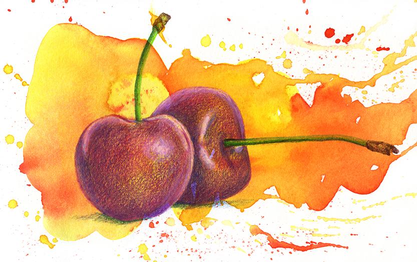 Doodlewash and watercolor sketch by Koosje Koene Sketchbook Skool of cherries