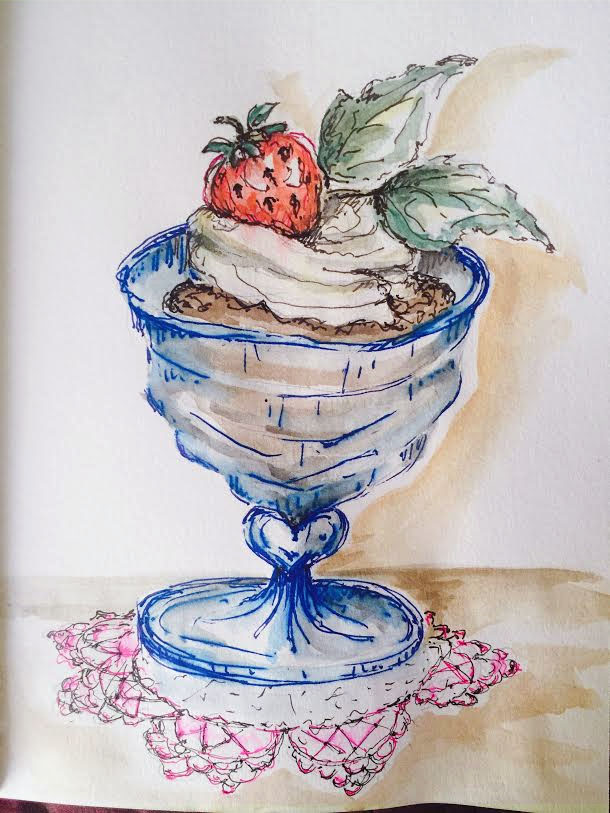 Doodlewash and watercolor sketch by Carolina Russo of Chocolate Mint Mousse for National Chocolate Mousse Day