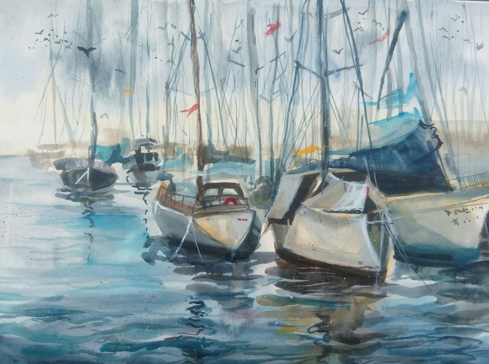 Doodlewash and watercolor painting of sailboats by Anna Fedorovich