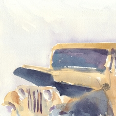 Doodlewash and watercolor by Ahmad Moghaddasi of old car