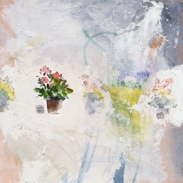 Doodlewash and watercolor by Ahmad Moghaddasi on canvas with miniature flower pot