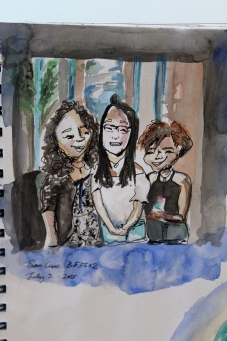 Doodlewash by Sam Orpiada watercolor sketch of three girlfriends sitting and laughing together