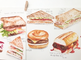 Doodlewash by YuLing Yiu Various Lunch Sandwiches