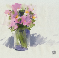 Doodlewash and watercolor by Ahmad Moghaddasi of pink flowers in glass vase