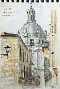 Doodlewash and watercolor sketch of Buildings in Salamanca Spain by César Rodríguez