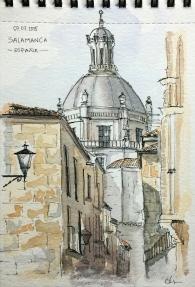 Doodlewash and watercolor sketch of Buildings in Salamanca Spain by César Rodríguez