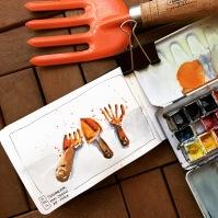 Doodlewash and watercolor urban sketch of gardening tools by César Rodríguez