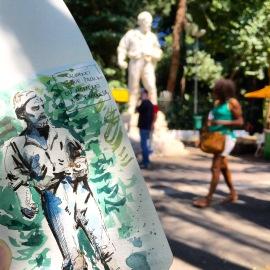 Doodlewash and watercolor urban sketch of a statue in the park by César Rodríguez