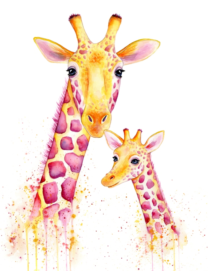 Doodlewash of Giraffe mom and baby in watercolor by Mette Laustsen