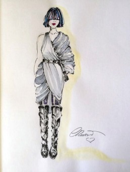 Doodlewash and watercolor sketch by Carolina Russo fashion illustration of female figure