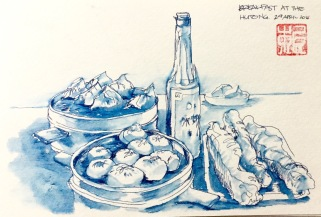 Doodlewash and watercolor sketch by Benny Kharismana of breakfast at the Hutong monotone urban sketch