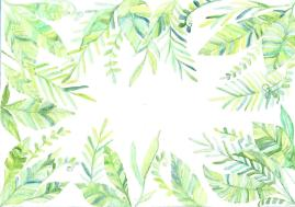 Doodlewash by Maria Christina Dina - watercolor of border of leaves