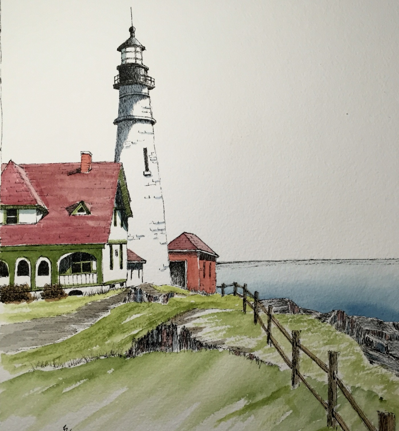 Lighthouse in Maine by Jay Vance - doodlewash and watercolor sketch of lighthouse building on coast of Maine