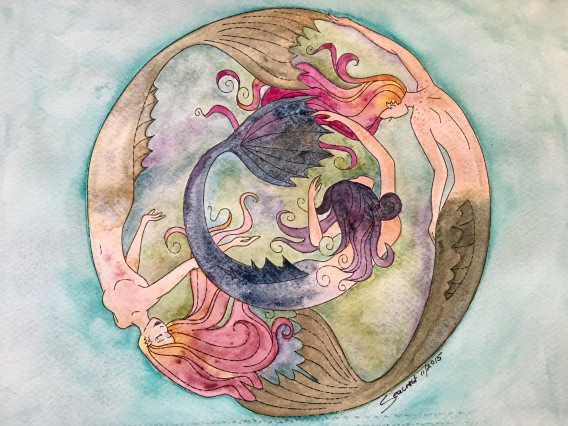 Daniel Smith watercolor painting of a mermaid embroidery pattern by Aimee Ray