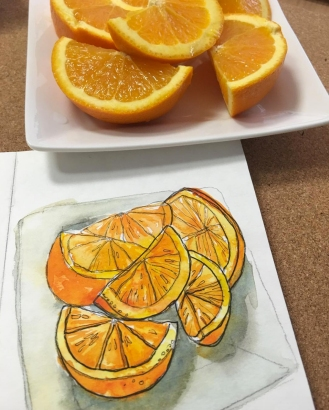 Mia - Sunmi An - Doodlewash and urban sketch of oranges